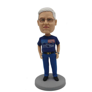 Retired Men In Blue Casual Clothes Custom Figure Bobblehead