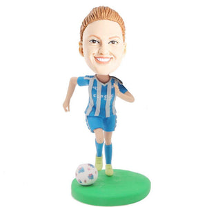 Running Female Football Soccer Player In Sportswear Custom Figure Bobblehead