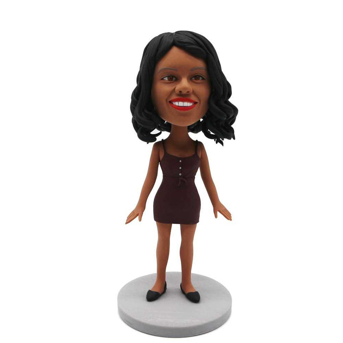 Sexy Lady In Dark Red Halter Dress Custom Figure Bobblehead