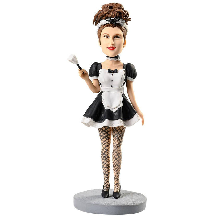 Sexy Maid Outfit with Fishnet Stockings Custom Figure Bobblehead