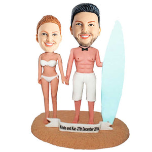 Sexy Surfers With Their Boards Couple Custom Bobblehead