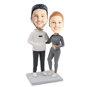 Sporty Couple In Sportswear Custom Couple Bobblehead