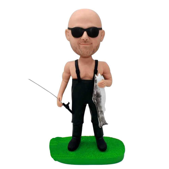 Strong Fishermen In Fishing Pants Hunting Custom Figure Bobblehead