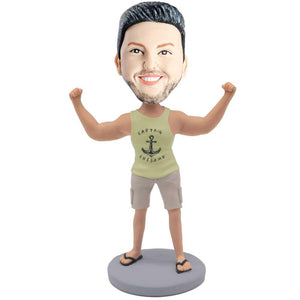 Strong Male In Yellow Vest And Hands Clench Fist Custom Figure Bobblehead