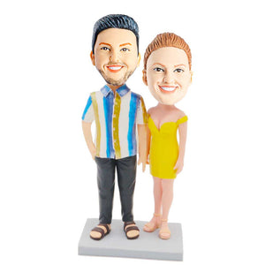 Stylish Couple In Strapless Dresses And Striped Shirts Custom Couple Bobblehead