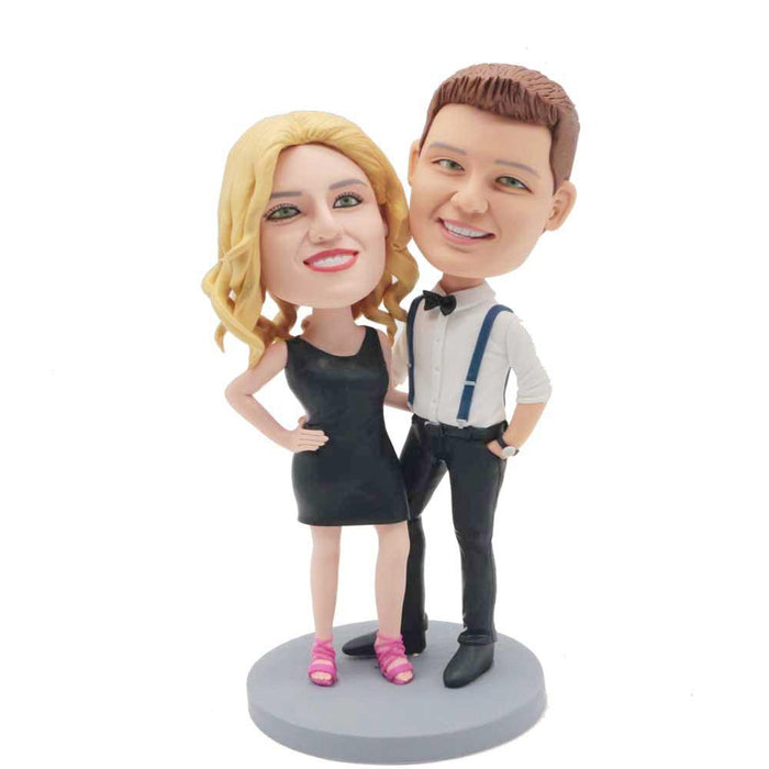 Stylish Couple With Hands On Hips Custom Couple Bobblehead