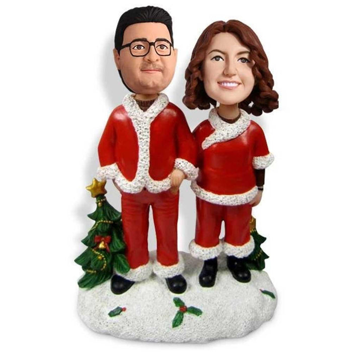 Sweet Christmas Couple Holding Hands Custom Figure Bobblehead