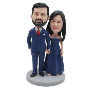 Sweet Couple In Dark Blue Dress And Suit Custom Couple Bobblehead