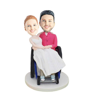 Sweet Couple In Wheelchair Csutom Couple Bobblehead