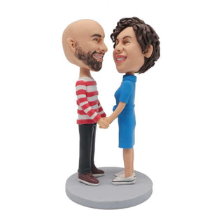 Sweet Couple Looking At Each Other Custom Couple Bobblehead