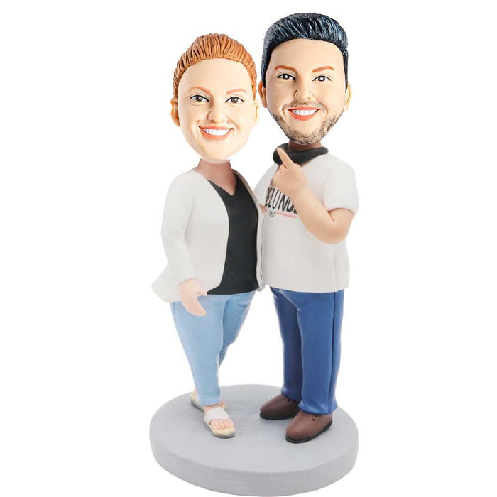 Sweet Couples In White Clothes Custom Couple Bobblehead