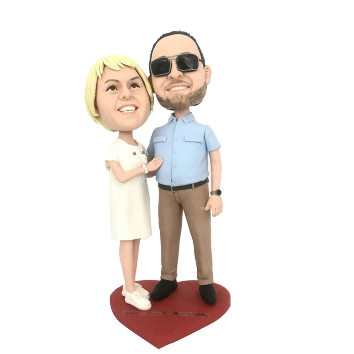 Sweet Embrace Each Other Couple Figure Bobblehead