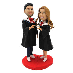 Sweet Graduates Couple In Black Gown Custom Graduation Bobblehead