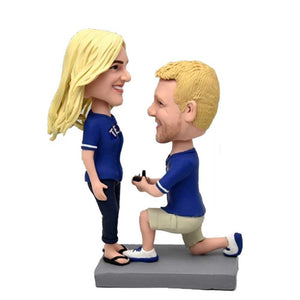 Sweet Proposal Couple Custom Figure Bobblehead