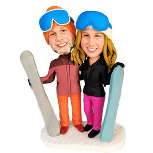 Sweet Skiers with Snowboarder Custom Couple Bobblehead