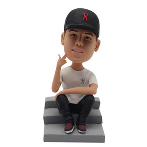 The Cool Guy Sitting On the Steps Custom Figure Bobblehead