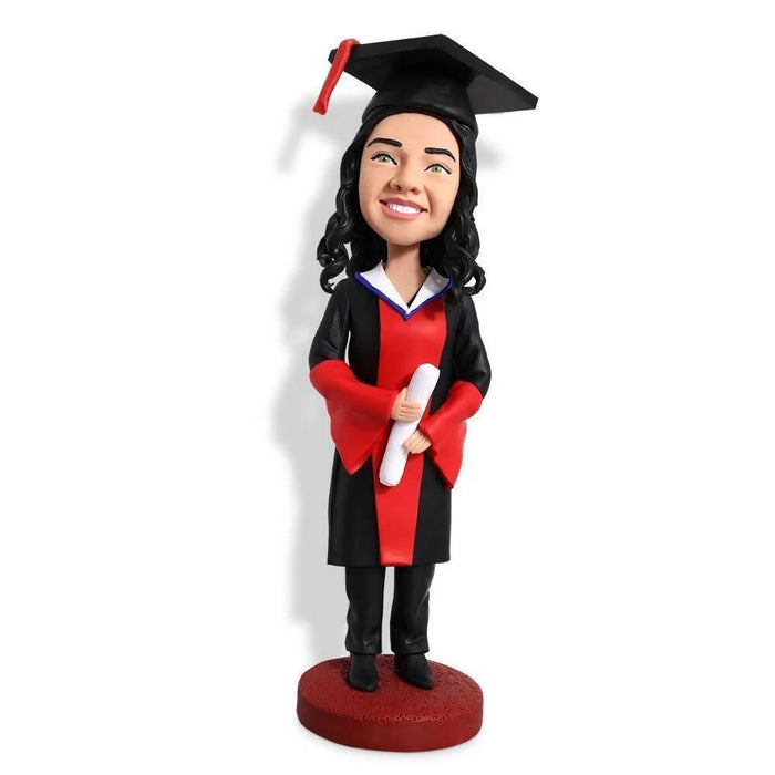 Unique Female Gratuation with Black and Red Gown Custom Figure Bobblehead