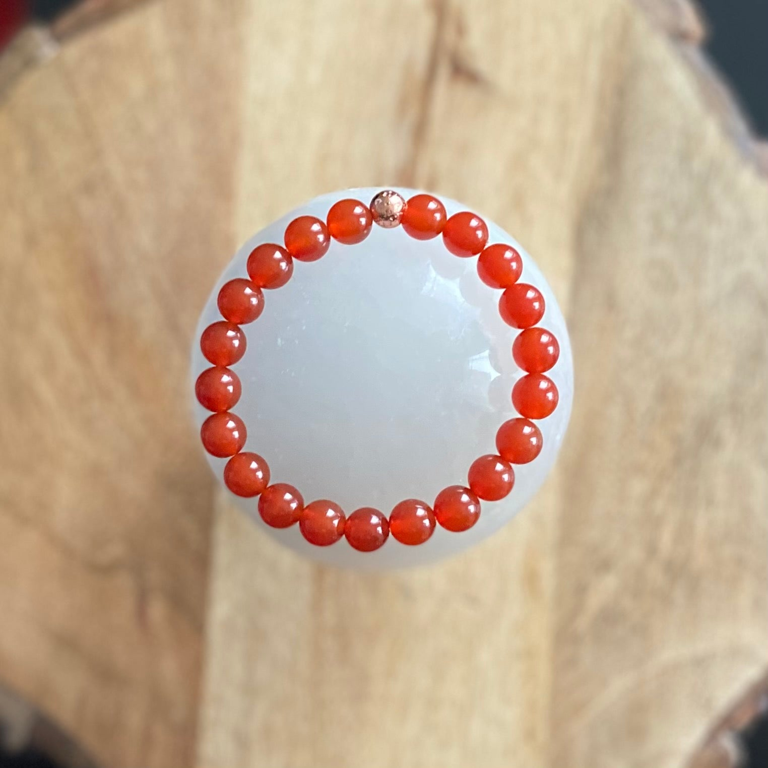 Carnelian and Rose Gold Lava Bracelet