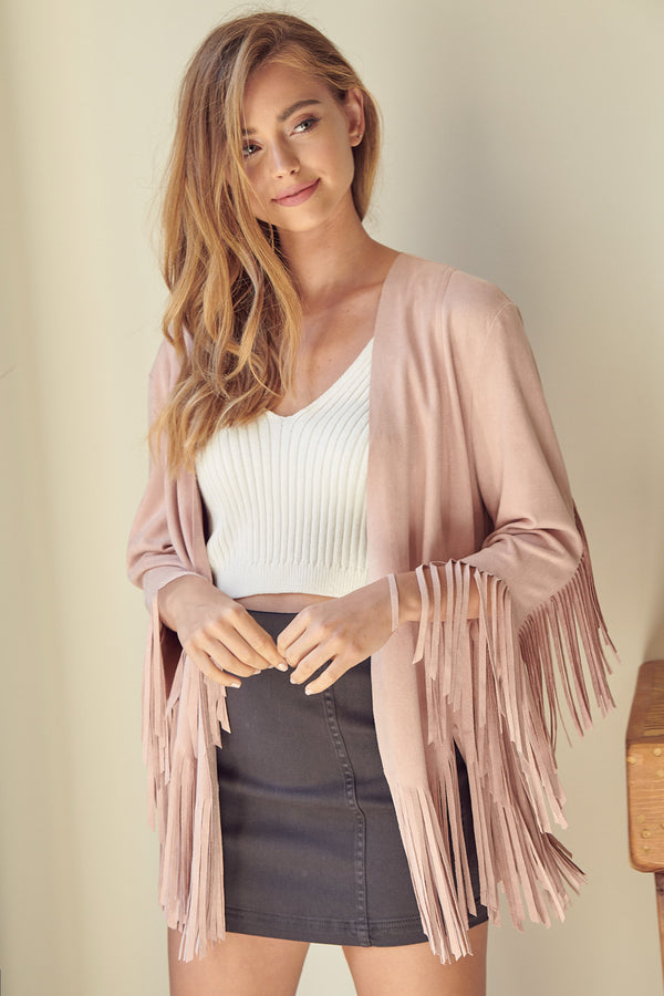 fringe lightweight jacket in blush/mauve color perfect for coachella and festivals