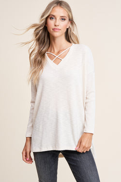 Cream White Crisscross Lightweight Textured Sweater