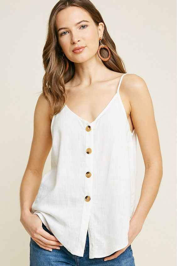 Linen Button Down Tank Top