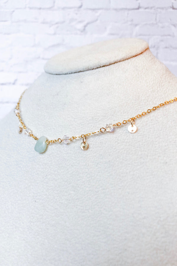 Amazonite Teardrop Choker with Swarovski® Crystals