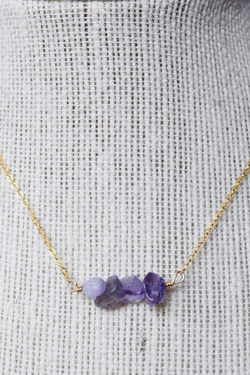 Amethyst Raw Cut Healing Stone Necklace | 14k Gold Filled