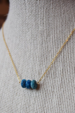 Blue Lace Agate Healing Stone Necklace | 14k Gold Filled