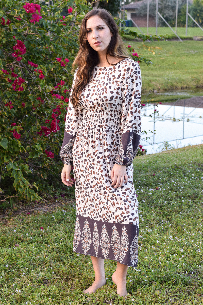 Cream Indigo Boho Printed Midi Dress