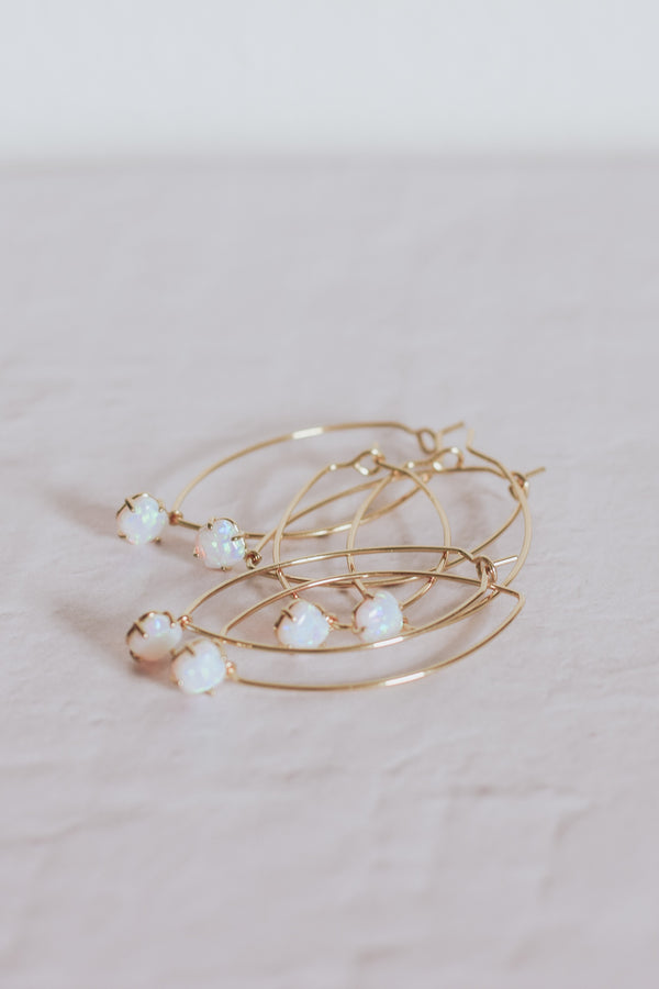 Opal Hoop Earrings