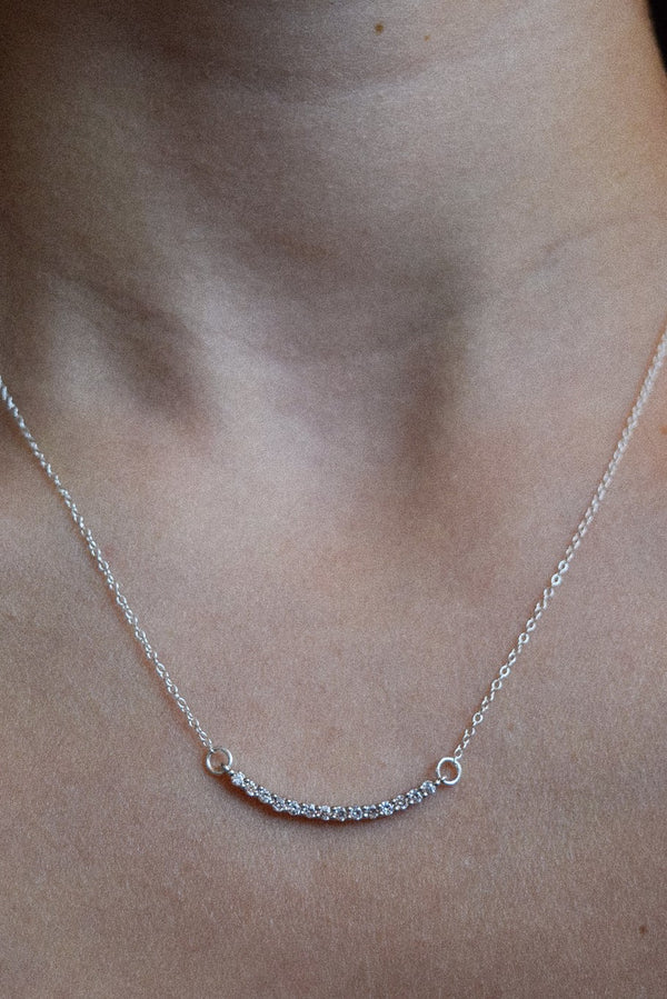 Crystal Curve Bar Necklace | Sterling Silver | 14k Gold Filled