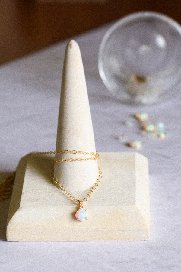 Dainty Opal Gold Filled Necklace, Opal Stone, Gold Jewelry