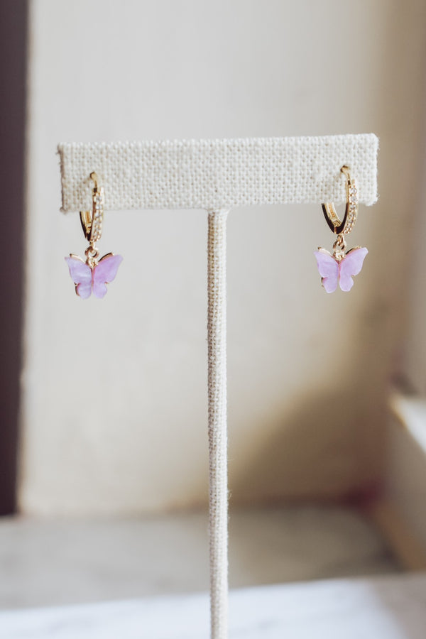 Butterfly Crystal Hoops