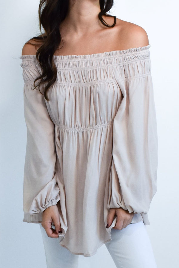 Cream Flowy Off The Shoulder Long Sleeve Blouse