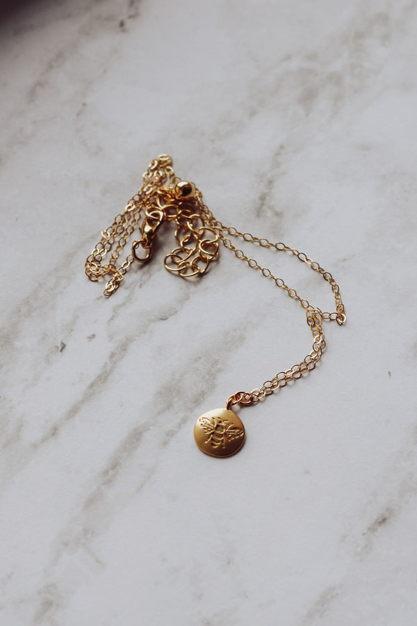 Mini Honey Bee Charm Necklace