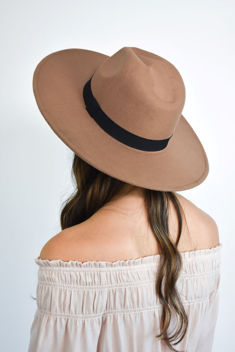 Brown Flat Brim Hat