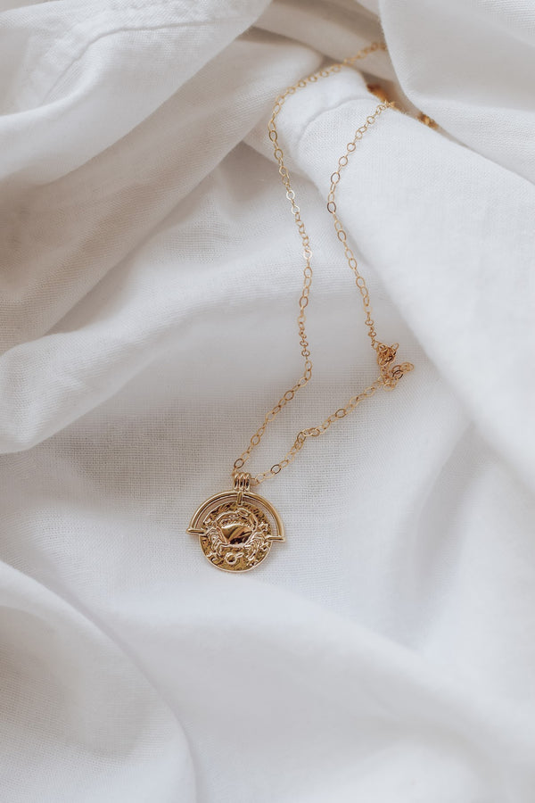 Zodiac Charm Medallion Necklace