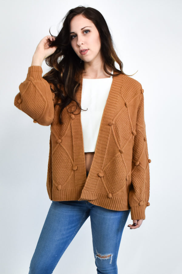 Mustard Yellow Pom Pom Balloon Sleeve Cardigan