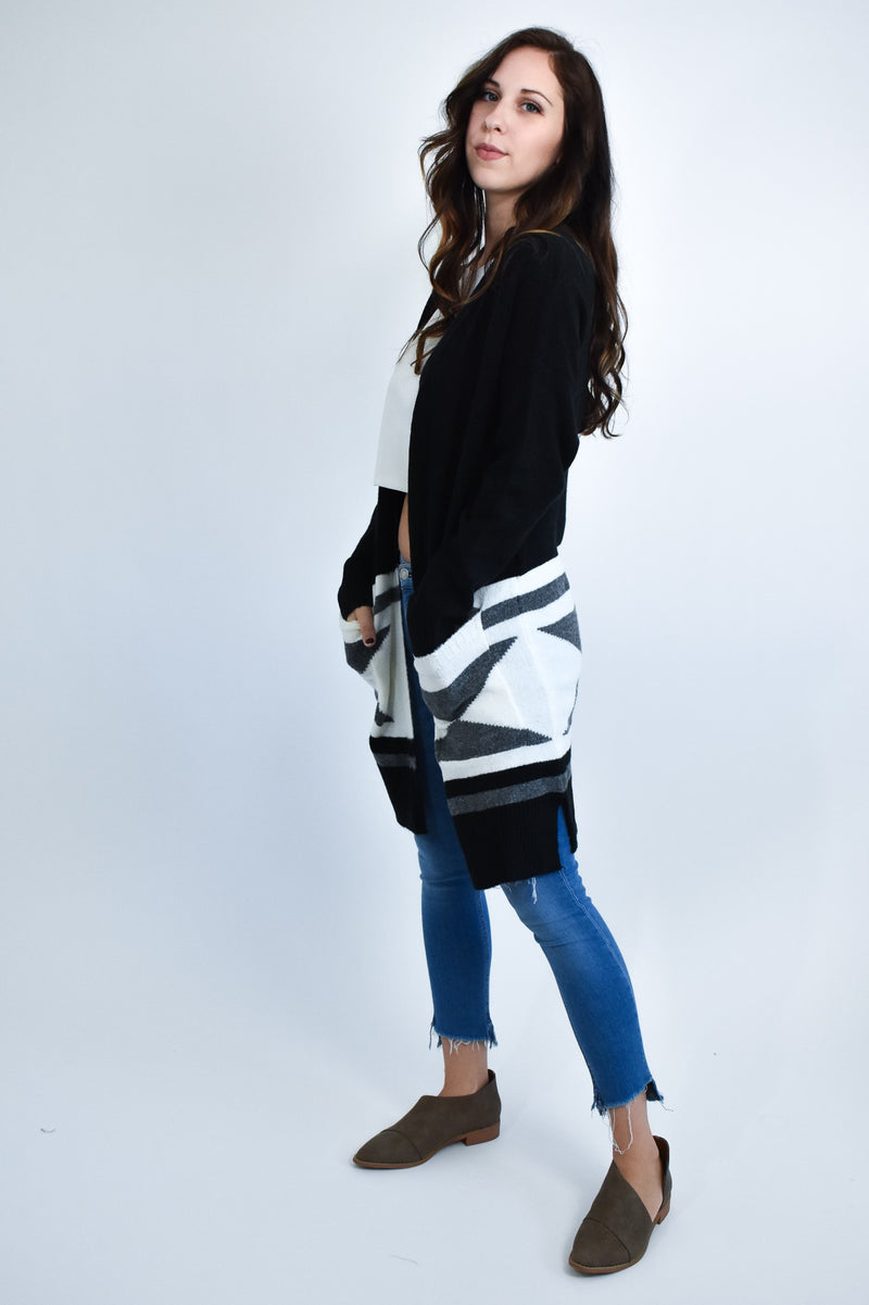Black Long Soft Cardigan with grey Aztec Print