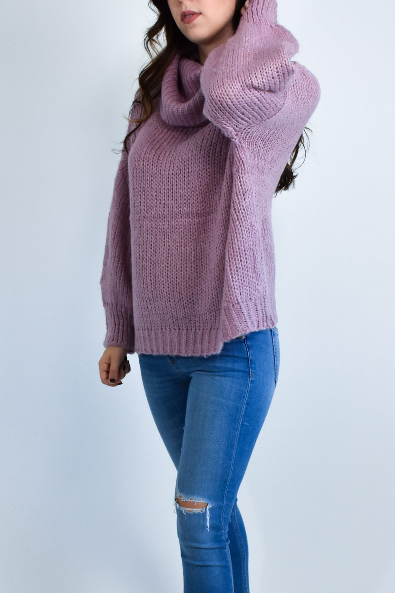 Pink Oversized Turtle Neck Sweater