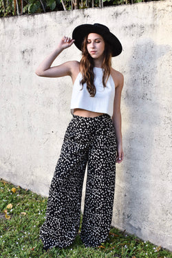 Black and White Dotted Print Wide Leg Pants