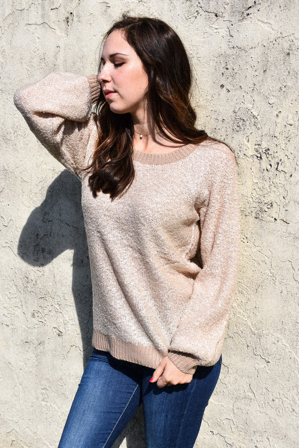 Textured Balloon Sleeve Beige Sweater
