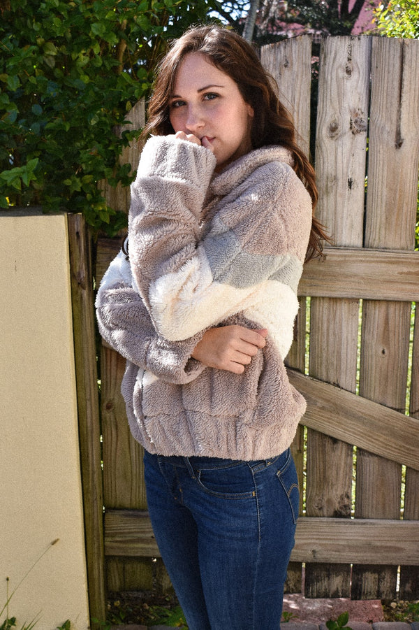 Mauve Faux Fur Striped Bomber Winter Jacket