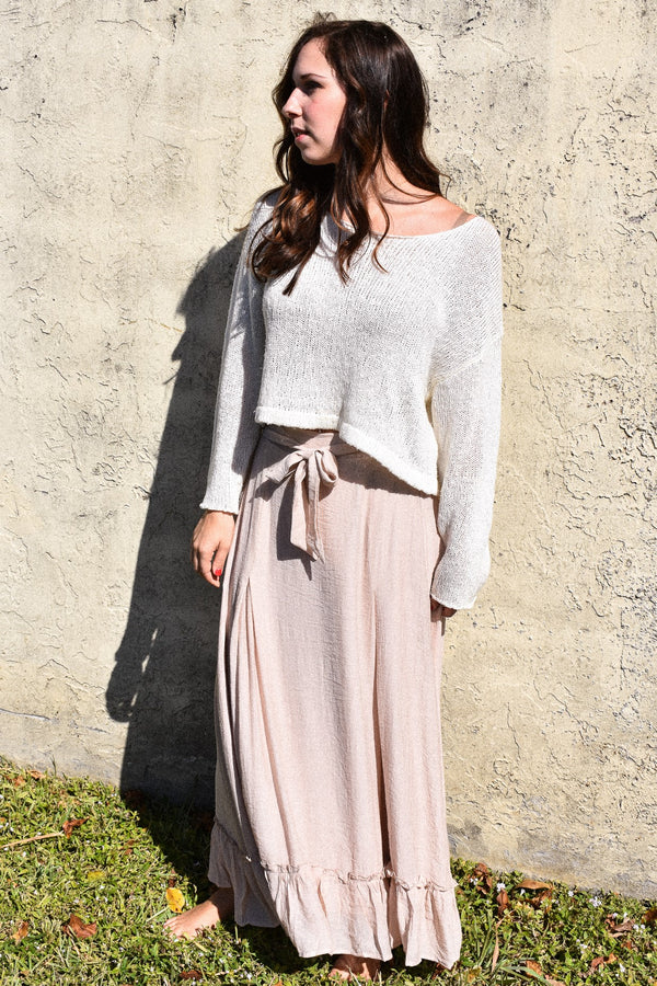 Lightweight Flowy Blush Bow Maxi Skirt