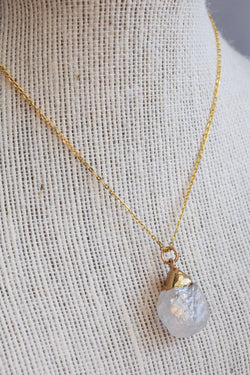 Gold Dipped Moonstone Long Necklace
