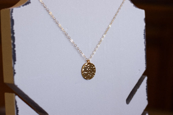 Simple Hammered Gold Coin Necklace