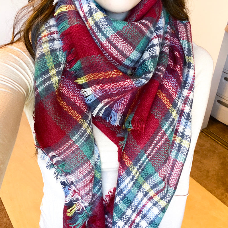 Winter Red and White Plaid Blanket Scarf