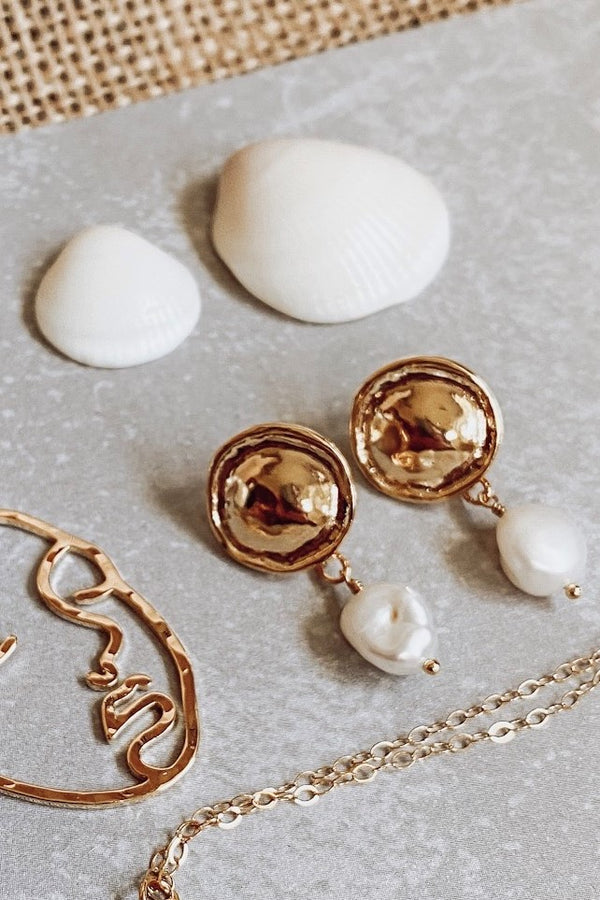 Gold Button Pearl Drop Earrings