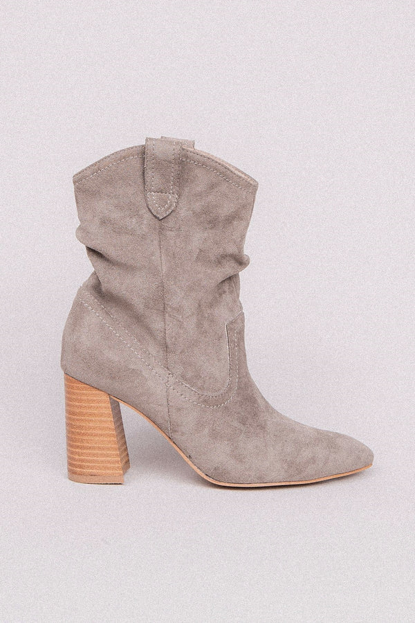 Grey Suede Block Heel Booties