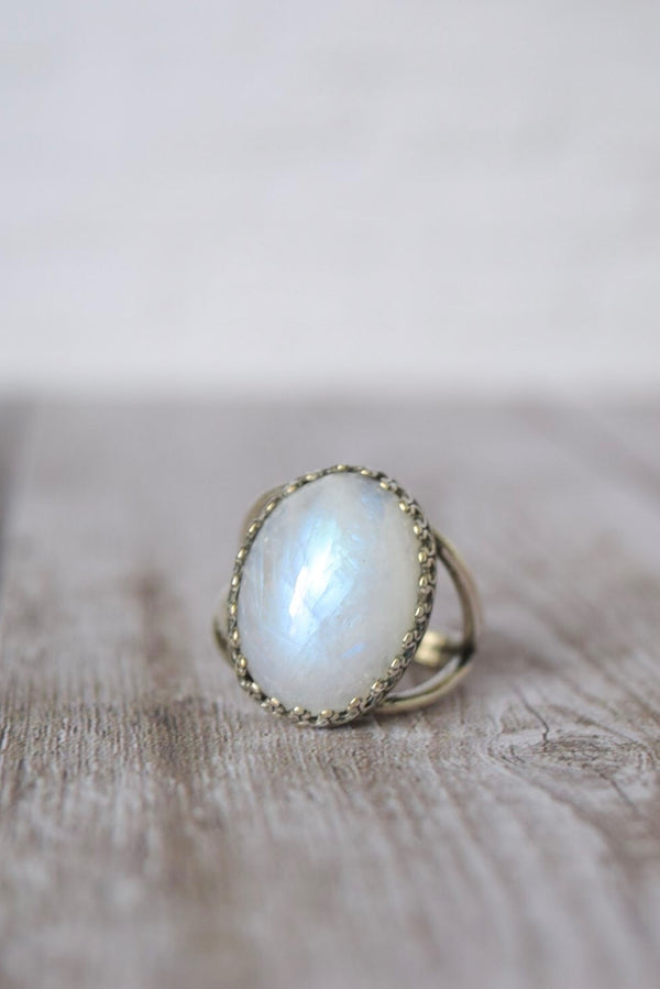Moonstone Ring | Brass | Adjustable